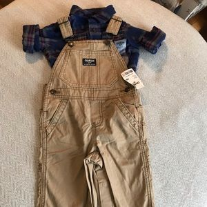 NEW Oshkosh outfit khaki overalls flannel shirt